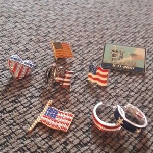 Red white and blue pins, earrings and flag pendant